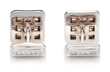 View 3. Thumbnail of Lot 1087. Pair of Diamond Cufflinks | 格拉夫| 鑽石袖扣一對 (鑽石共重約3.10克拉).