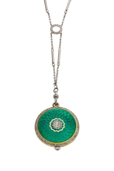 View 2. Thumbnail of Lot 395.  A yellow gold platinum enamel and diamond-set open faced watch with necklace, Circa 1925.
