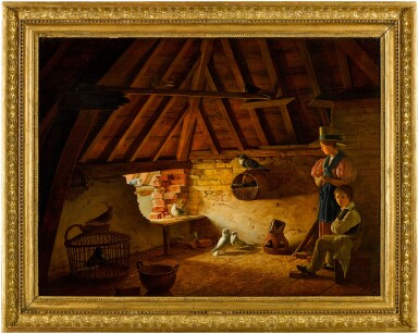 View 3. Thumbnail of Lot 60. HENRI VOORDECKER     A BOY AND A GIRL WITH THEIR PIGEONS IN A LOFT.