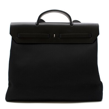 View 4. Thumbnail of Lot 113. HERMÈS | BLACK HERBAG MM 2-IN-1 IN HUNTER COWHIDE WITH PALLADIUM HARDWARE, 1999.