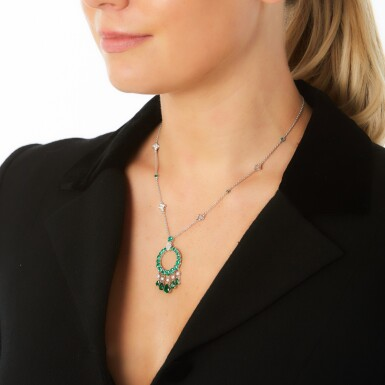 View 4. Thumbnail of Lot 298. GRAFF   EMERALD AND DIAMOND NECKLACE, 'GYPSY'.