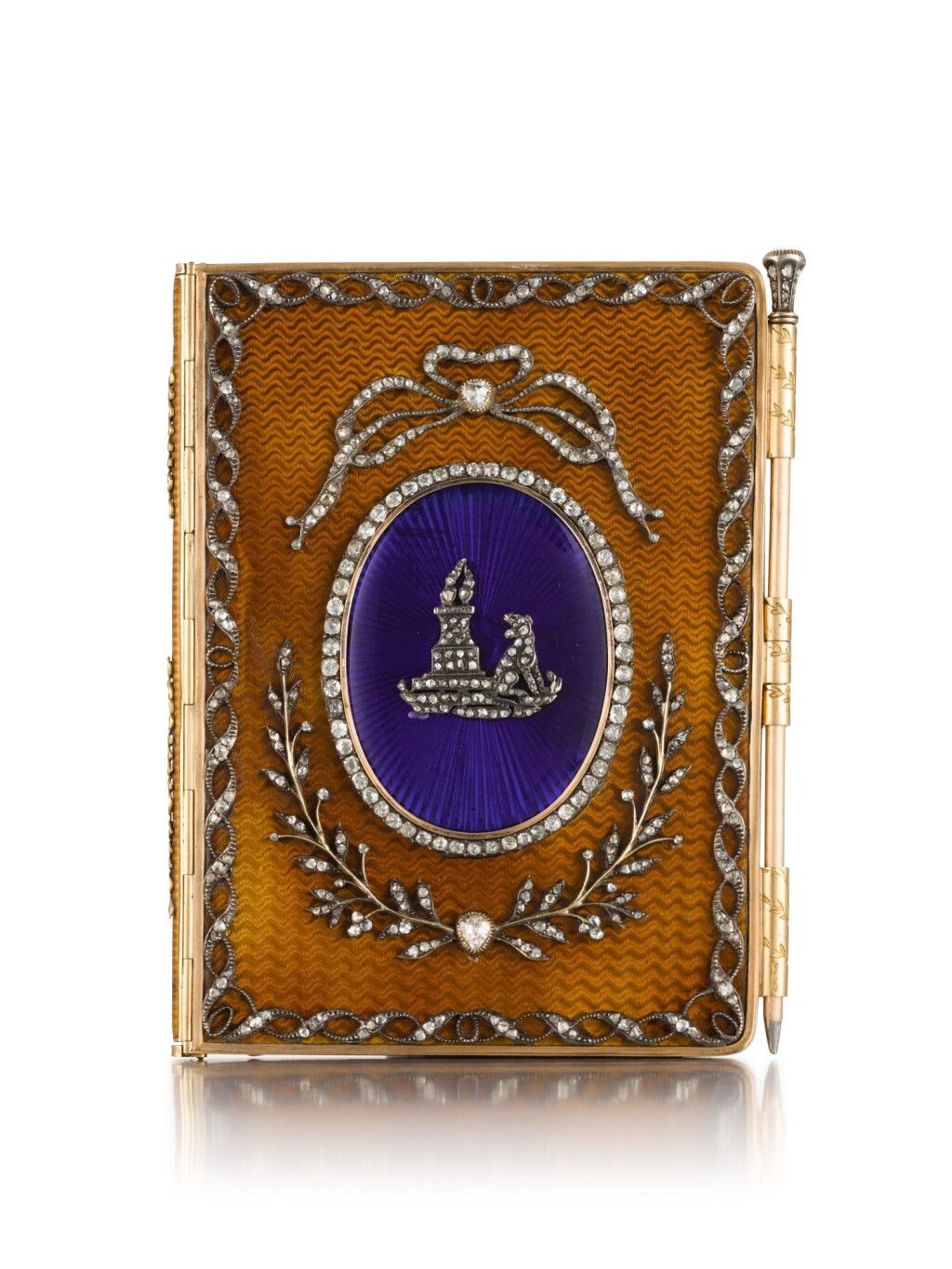 A JEWELLED GOLD, ENAMEL AND IVORY HISTORISMUS CARNET, POSSIBLY ITALIAN, CIRCA 1910