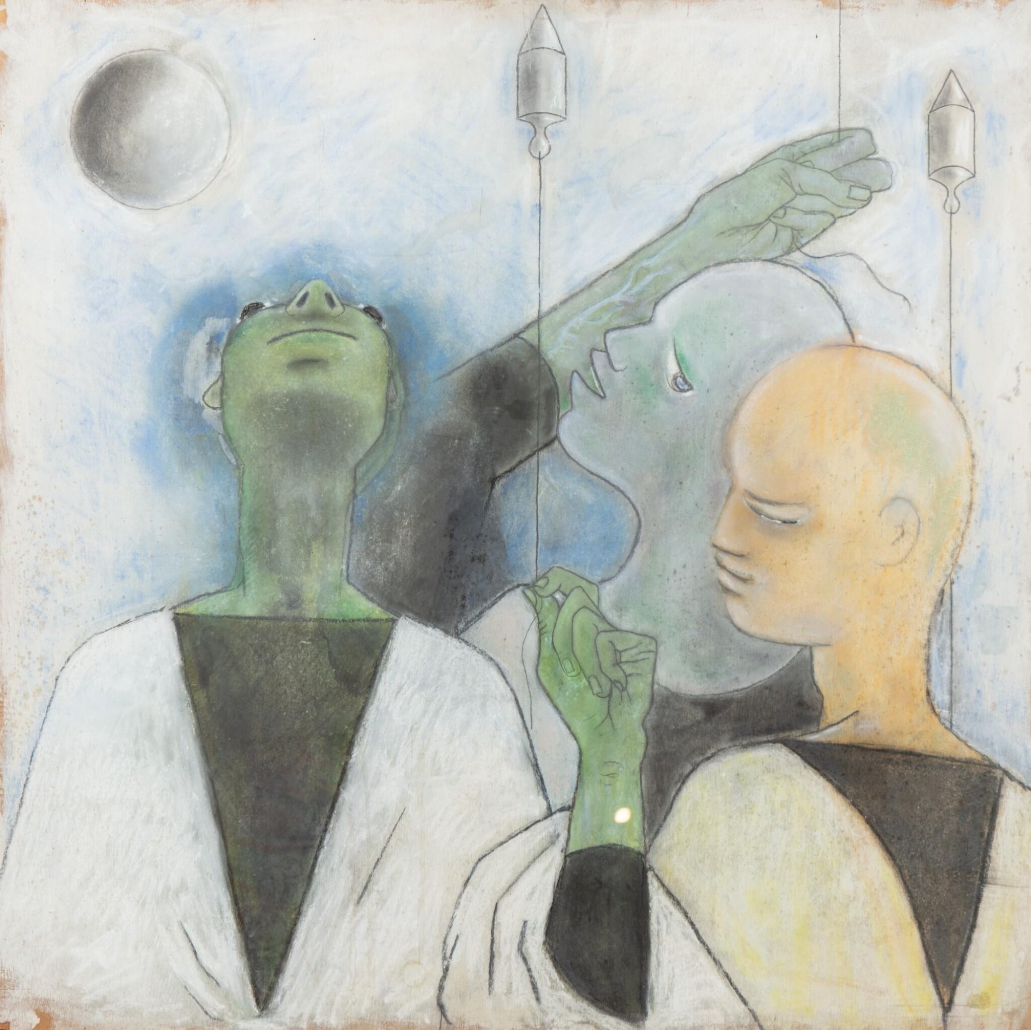 View full screen - View 1 of Lot 36. JEAN COCTEAU. Trois astrologues. 1954. Technique mixte sur isorel.. 102,5 x 102,5 cm..