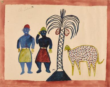 ALBERT LUBAKI | UNTITLED (TWO MEN WITH COCONUT TREE)