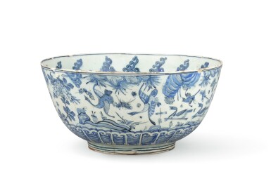 View 2. Thumbnail of Lot 282. A Monumental Safavid Blue and White Pottery Bowl, Persia, 17th Century.