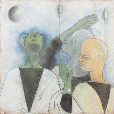 View 1. Thumbnail of Lot 36. JEAN COCTEAU. Trois astrologues. 1954. Technique mixte sur isorel.. 102,5 x 102,5 cm..