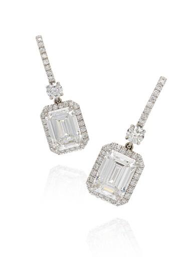 View 1. Thumbnail of Lot 1688. Pair of Diamond Pendent Earrings | 3.01及3.01 方形 D色 內部無暇 鑽石 耳墜一對.