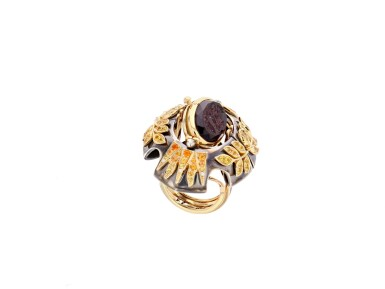 View 4. Thumbnail of Lot 5. Elie Top, Yellow Sapphire, Garnet and Diamond Ring [Bague Diamants, Grenat Mandarine et Saphirs Jaunes], 'Feu D'été'.