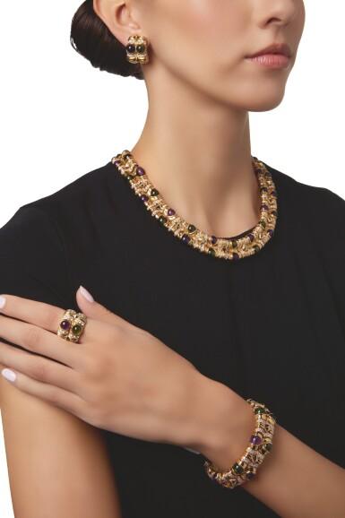 View 2. Thumbnail of Lot 584. SUITE OF GOLD, AMETHYST, TOURMALINE AND DIAMOND JEWELS, BULGARI | 黃金鑲紫水晶配璧璽及鑽石首飾套裝,寶格麗.