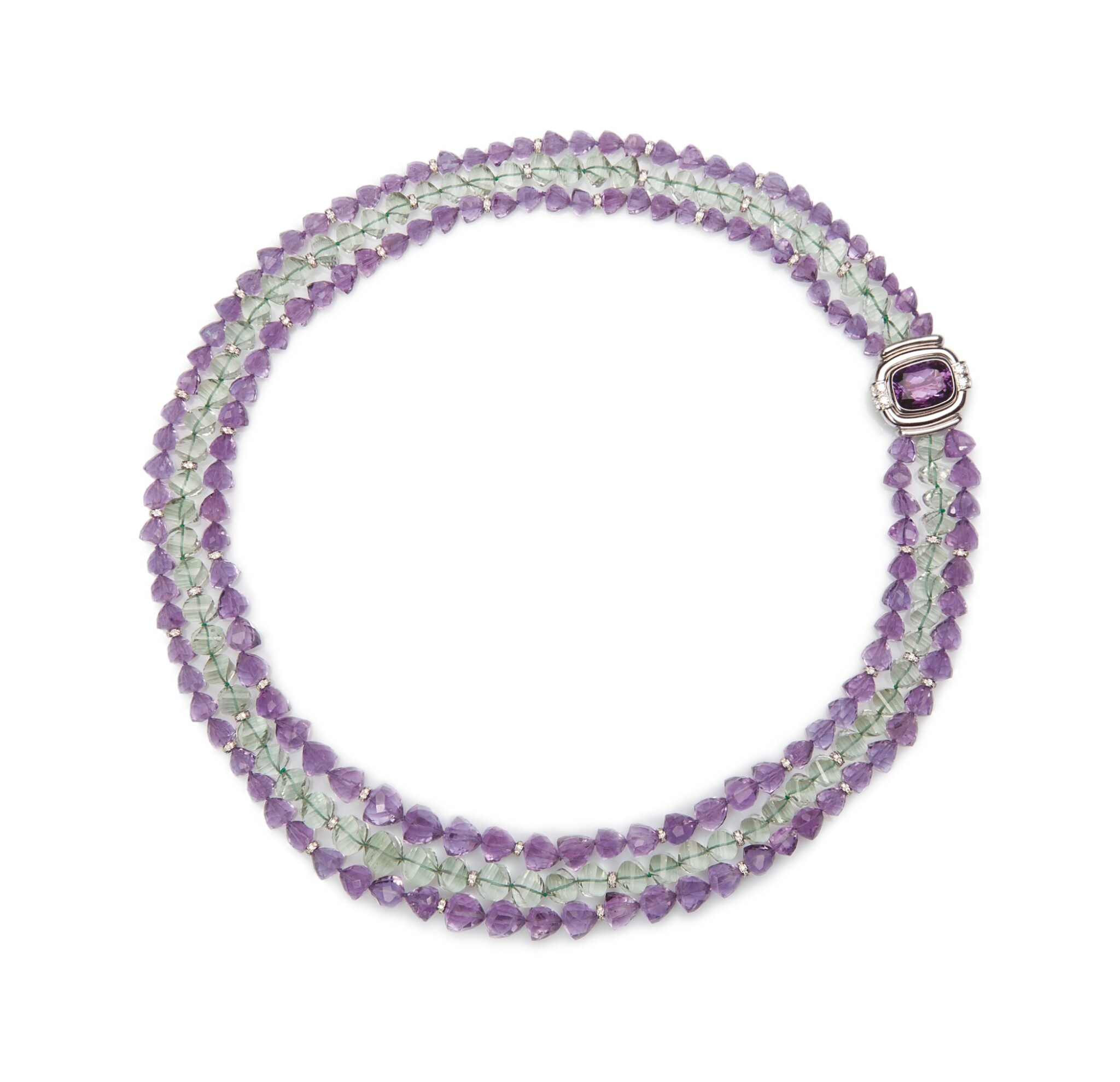 View full screen - View 1 of Lot 17. AMETHYST, PRASIOLITE AND DIAMOND NECKLACE, MICHELE DELLA VALLE.