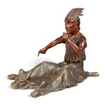 FINE AND RARE CARVED AND POLYCHROME PAINT-DECORATED WOOD AND CAST BRONZE NATIVE AMERICAN WITH BUFFALO HIDE BLANKET, CIRCA 1870