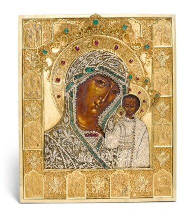 View 1. Thumbnail of Lot 244. A rare jewelled and pearl-set silver-gilt icon of the Kazanskaya Mother of God, maker's mark Karl Sievers, retailed by Sazikov, St Petersburg, 1864.