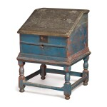VERY RARE PILGRIM CENTURY BLUE-PAINTED WHITE PINE AND MAPLE SLANT-LID DESK-ON-FRAME, PROBABLY HUDSON RIVER VALLEY, CIRCA 1700