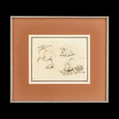 View 1. Thumbnail of Lot 200. George Chinnery (1774-1852) Two Sketches of Indian Woman Spinning | 錢納利(1774-1852年)    素描印度婦女紡紗圖一組兩幅    紙本鋼筆及墨水 鏡框.