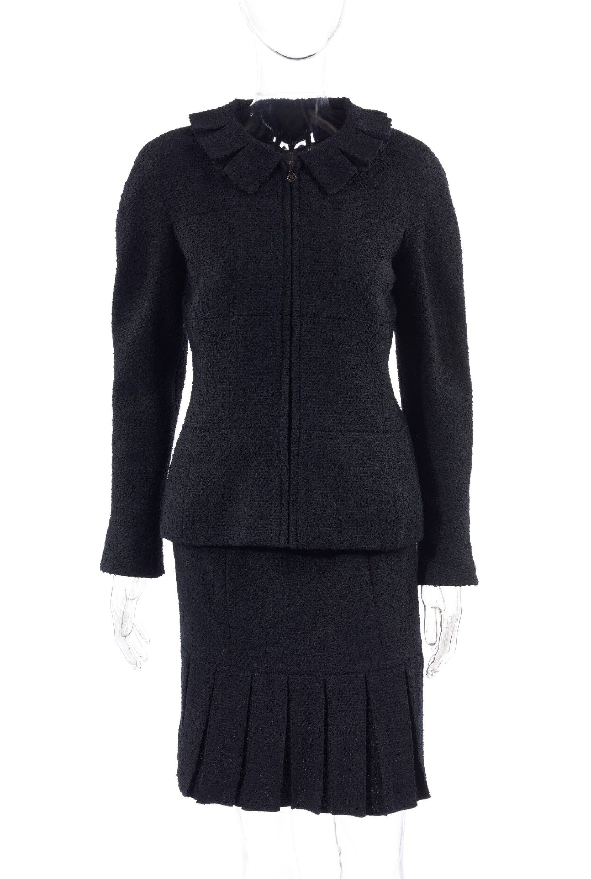 A MIDNIGHT BLUE WOOL-BLEND SKIRT SUIT, CHANEL