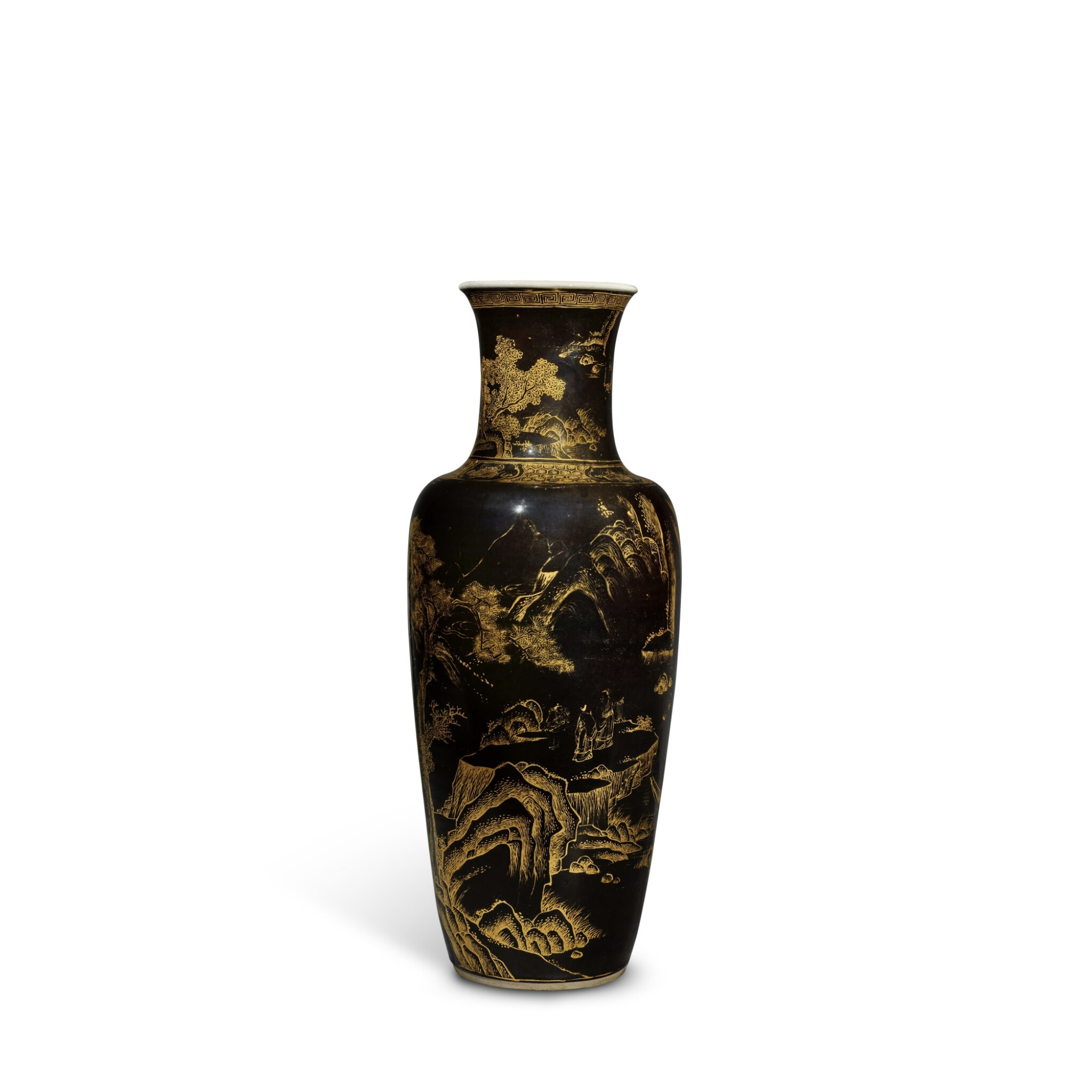 View full screen - View 1 of Lot 203. A mirror-black-glazed and gilt-decorated 'landscape' vase, Qing dynasty, 19th century | 清十九世紀 烏金釉描金山水人物圖瓶.