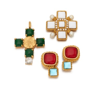 View 1. Thumbnail of Lot 72. Gripoix pendant, brooch and pair of earclips.