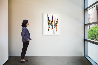 View 4. Thumbnail of Lot 528. Mark Grotjahn 馬克・格羅亞恩   Untitled (Colored butterfly white background 4 wings) 無題(彩色蝴蝶白色背景四翅膀).
