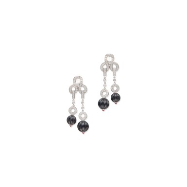PAIR OF DIAMOND, ONYX AND RUBY 'AGRAFE' EARCLIPS, CARTIER