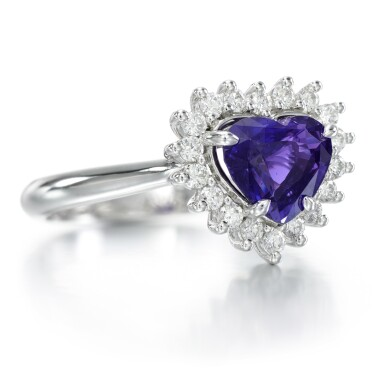 View 2. Thumbnail of Lot 95. Colour change sapphire and diamond ring.