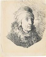 REMBRANDT HARMENSZ. VAN RIJN  |  WOMAN WITH A HIGH HEADDRESS WRAPPED AROUND THE CHIN: BUST (B., HOLL. 358; NEW HOLL. 58; H. 83)