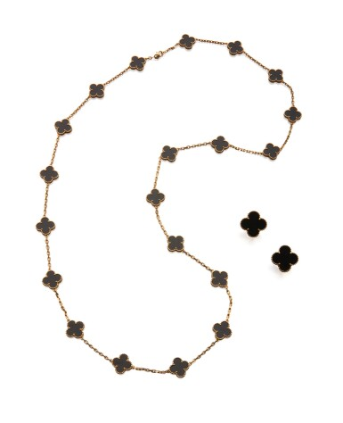 View 1. Thumbnail of Lot 23. ONYX 'ALHAMBRA' NECKLACE AND PAIR OF EARCLIPS, VAN CLEEF & ARPELS.