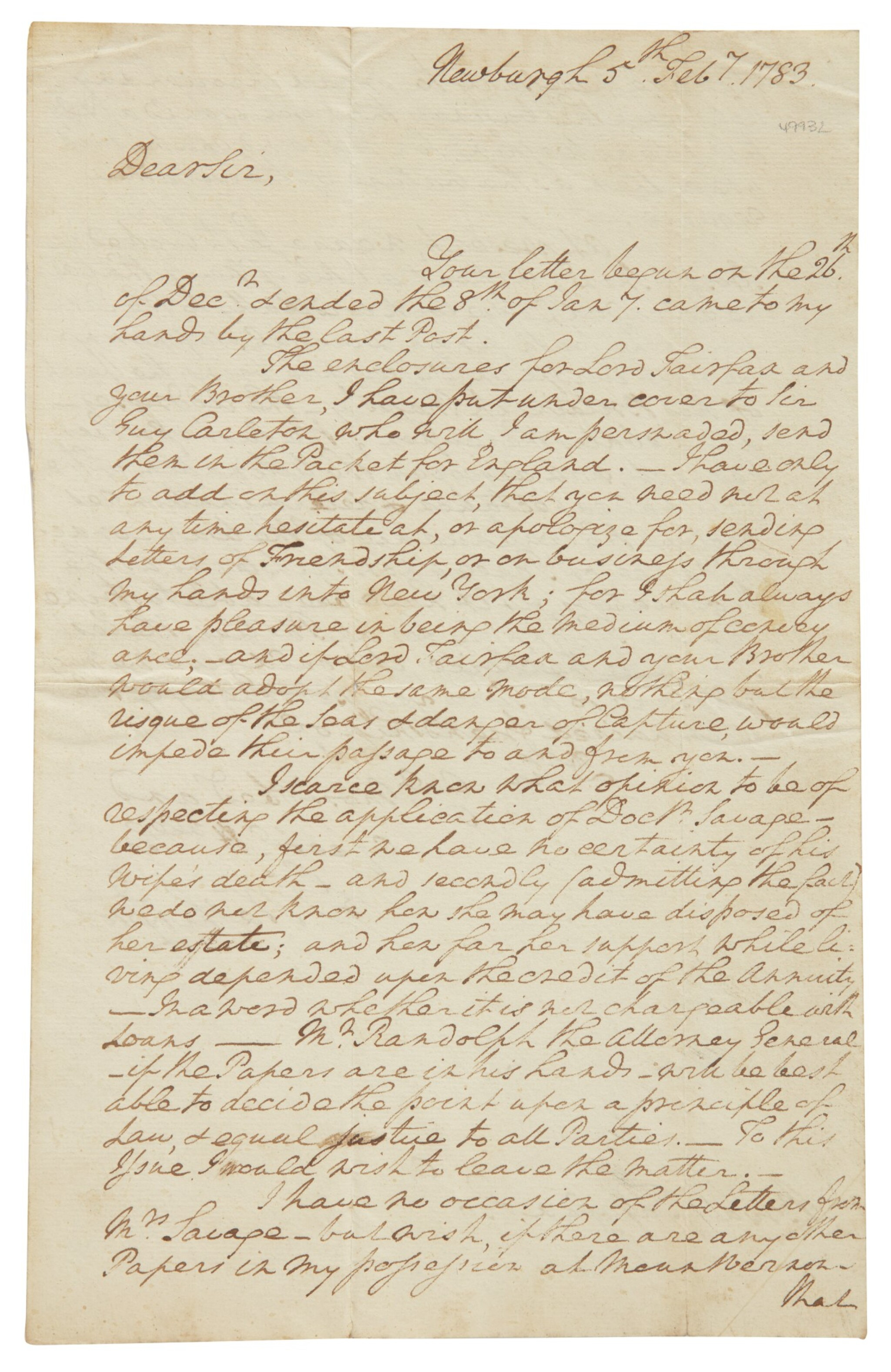 """View full screen - View 1 of Lot 111. WASHINGTON, GEORGE 