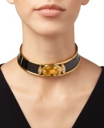 GOLD, CITRINE AND DIAMOND CHOKER-NECKLACE, MARINA B, FRANCE