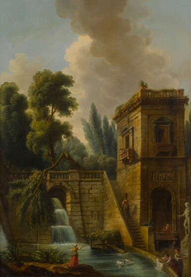 View 2. Thumbnail of Lot 77. View of a grand waterfall in Tivoli, with washerwomen in the foreground.