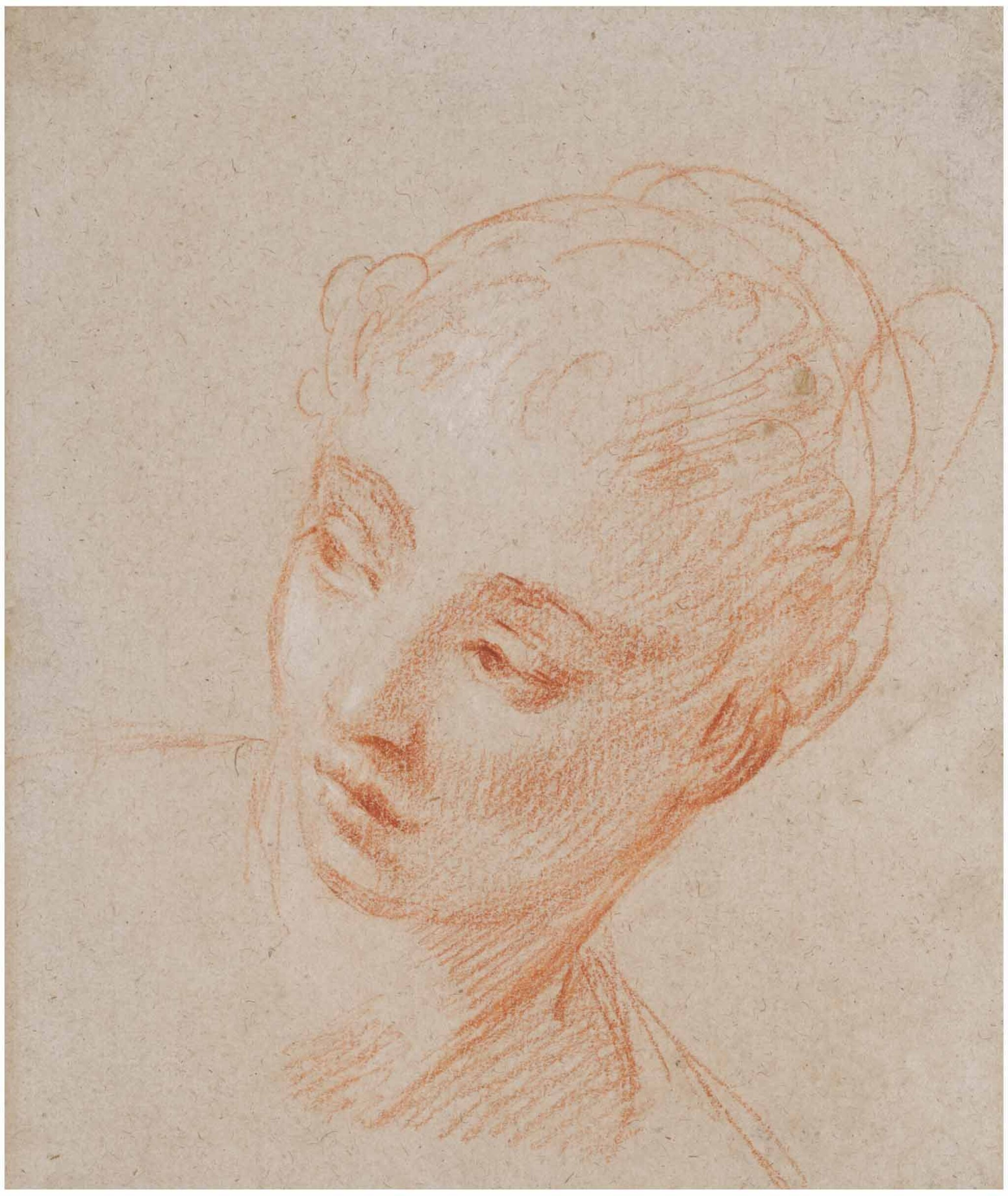 View full screen - View 1 of Lot 28. FRANÇOIS LE MOYNE | RECTO: HEAD OF A WOMAN TURNING TO HER RIGHT,  VERSO: HEAD STUDY OF A WOMAN IN PROFILE.