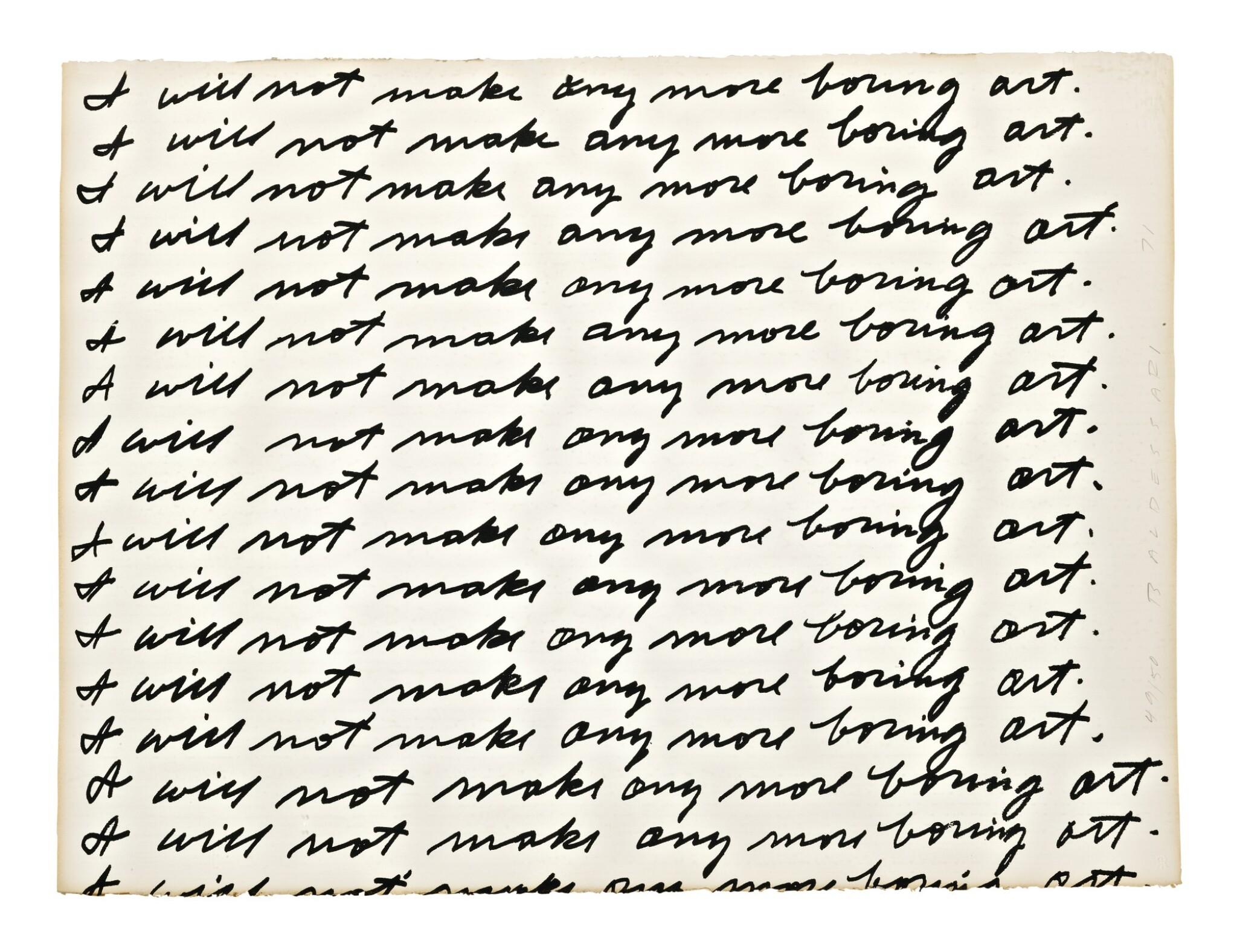 View full screen - View 1 of Lot 3. JOHN BALDESSARI |  I WILL NOT MAKE ANY MORE BORING ART.