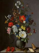 Flowers in a vase on a stone ledge, with redcurrants and shells | 《靜物:石架上的瓶花、紅加侖子與貝殼》