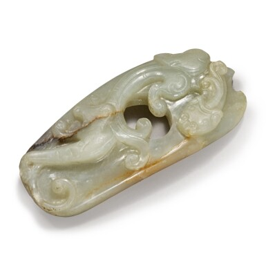 View 2. Thumbnail of Lot 169. An archaistic pale green jade 'chilong' pendant, 17th / 18th Century.