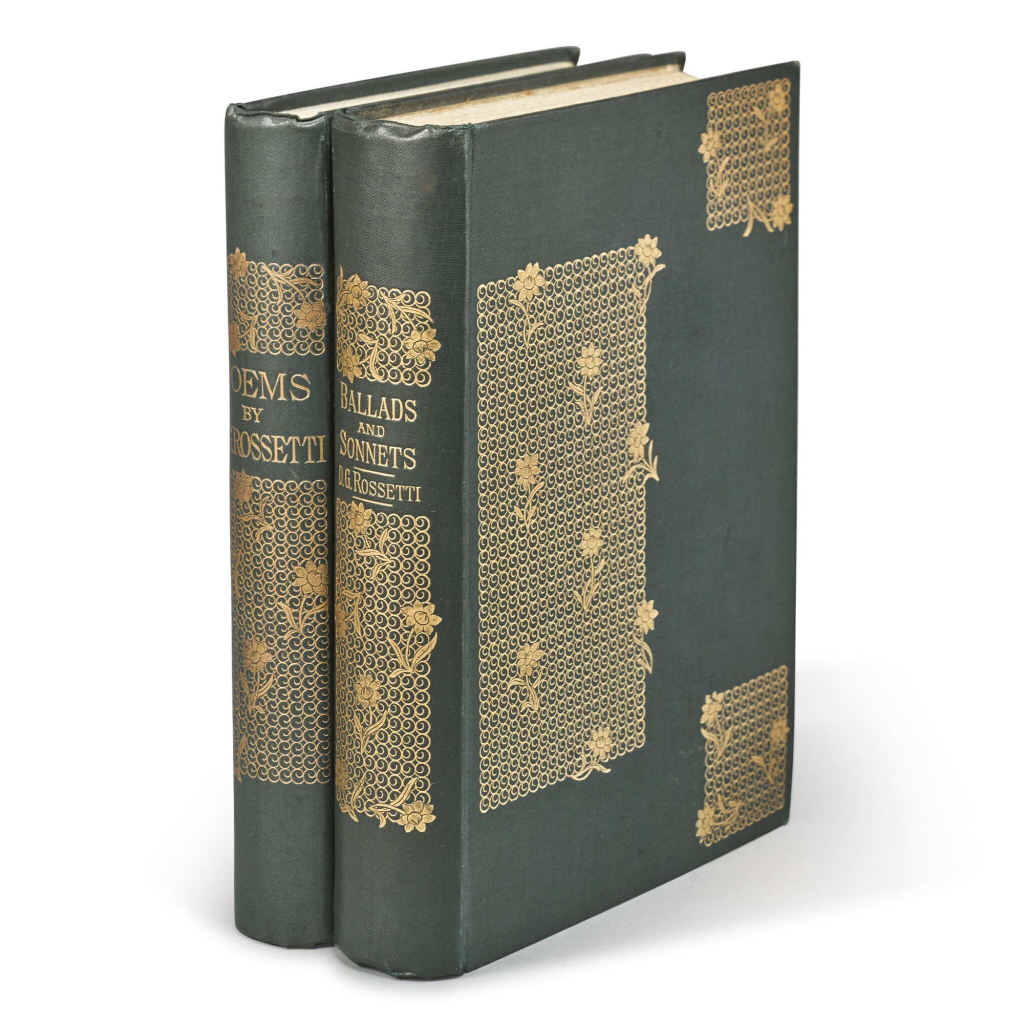 View full screen - View 1 of Lot 53. ROSSETTI, DANTE GABRIEL   Poems. London: F. S. Ellis, 1870. [And:] Ballads and Sonnets. London: Ellis and White, 1881.