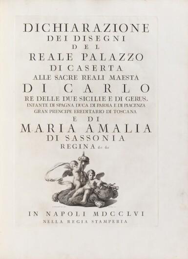 View 2. Thumbnail of Lot 65. Dichiarazione dei Disegni del reale Palazzo di Caserta. Naples, 1756. In-folio. Reliure de l'époque..