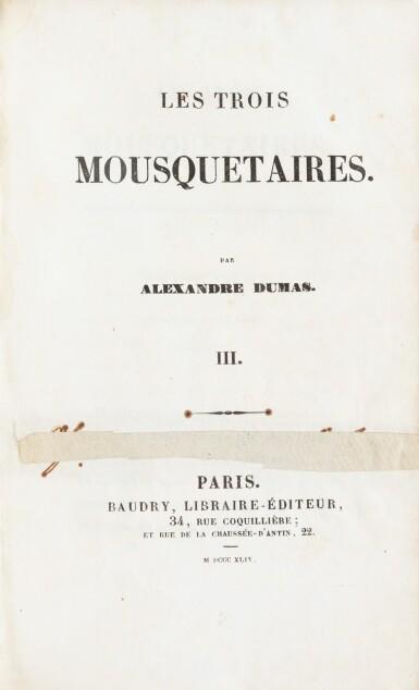 View 2. Thumbnail of Lot 95.  Les Trois mousquetaires. 1844. 8 t. en 4 vol. Rare édition originale. Reliure de l'époque, avec chiffre O.N.C.M.