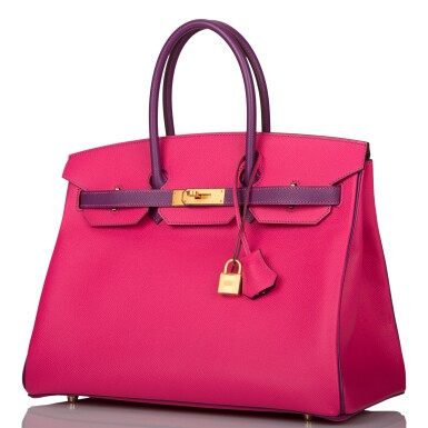 View 4. Thumbnail of Lot 26. HERMÈS   HORSESHOE STAMP (HSS) BICOLOR ROSE TYRIEN AND ANEMONE BIRKIN 35CM OF EPSOM LEATHER WITH GOLD HARDWARE.