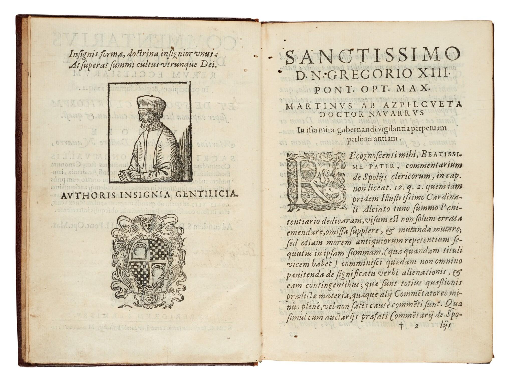 View full screen - View 1 of Lot 56. Azpilcueta, Commentarius de alienatione, Rome, 1584, contemporary morocco with arms of Cardinal Boncompagni.