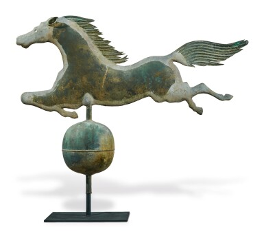View 2. Thumbnail of Lot 1433.  EXCEPTIONAL MOLDED COPPER LEAPING HORSE WEATHERVANE, BOSTON, MASSACHUSETTS, CIRCA 1860.