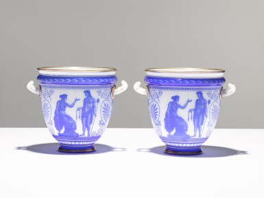 View 3. Thumbnail of Lot 92. A PAIR OF CAMEO GLASS VASES BY LA COMPAGNIE DES CRISTALLERIES DE BACCARAT, CIRCA 1865.