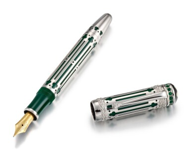 View 2. Thumbnail of Lot 8015. MONTBLANC | A LIMITED EDITION WHITE GOLD, EMERALD-SET AND RESIN FOUTAIN PEN, CIRCA 1997.