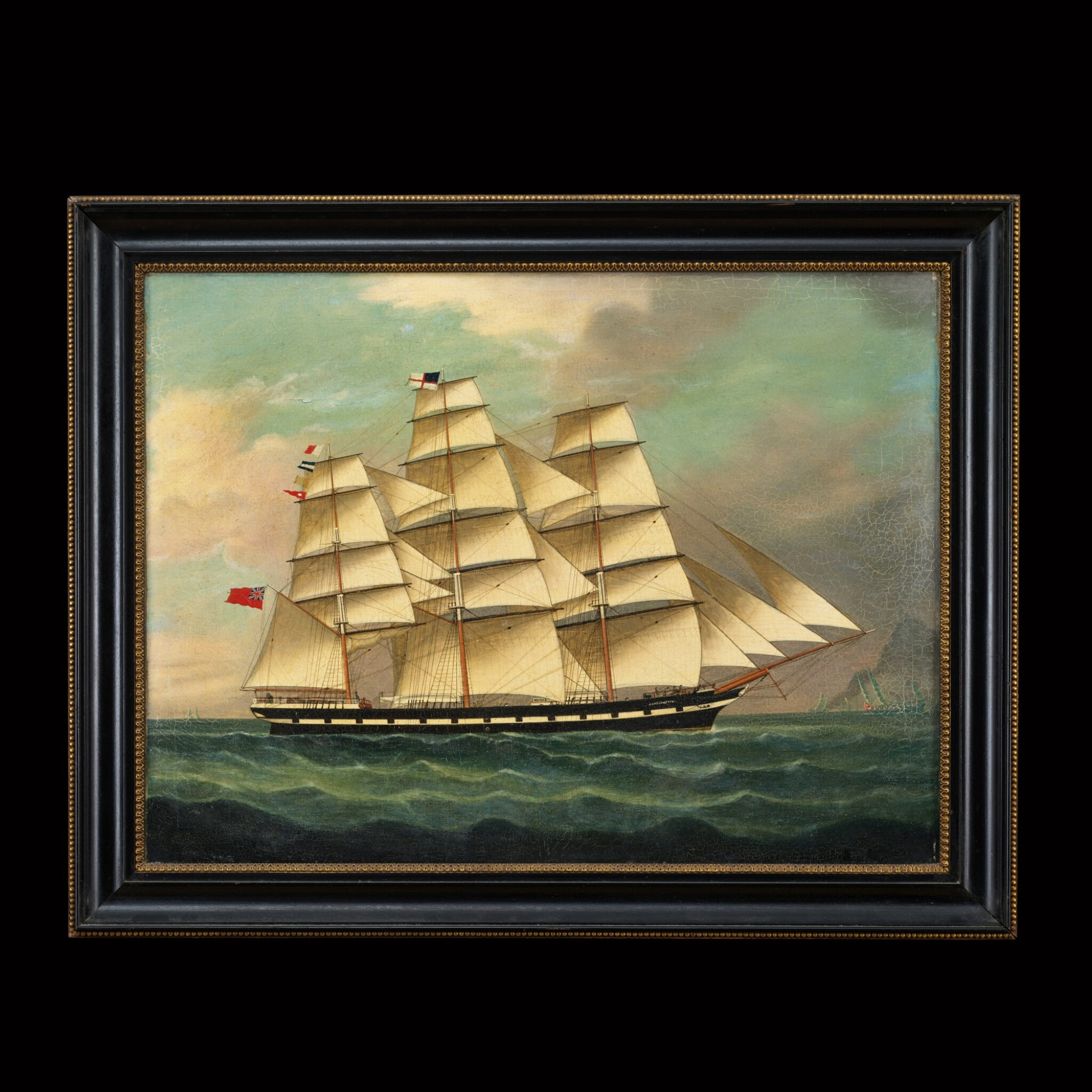 View full screen - View 1 of Lot 197. Chinese School, 19th Century Portrait of a Ship | 中國畫派 十九世紀   帆船 布本油畫 木框.