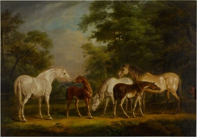 View 2. Thumbnail of Lot 121. Mares and foals in a clearing.