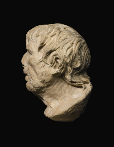 View 3. Thumbnail of Lot 39. A ROMAN MARBLE HEAD OF A GREEK POET, PROBABLY HESIOD, CIRCA 1ST CENTURY A.D..