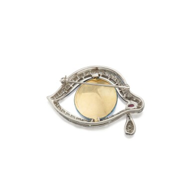 View 2. Thumbnail of Lot 460. Henryk Kaston for Salvador Dalí | Enamel, Diamond and Ruby 'Eye of Time' Brooch.