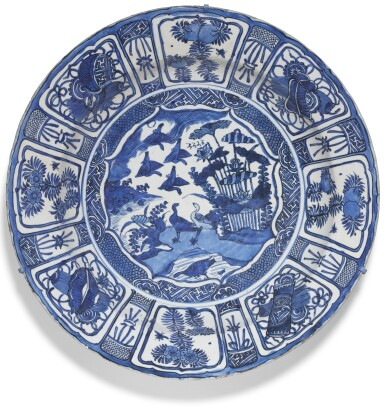 View 1. Thumbnail of Lot 12.  A LARGE BLUE AND WHITE 'KRAAK' DISH MING DYNASTY, WANLI PERIOD.