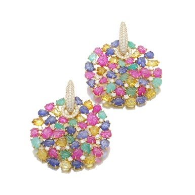 View 1. Thumbnail of Lot 37. MICHELE DELLA VALLE | PAIR OF GEM SET AND DIAMOND EARRINGS.