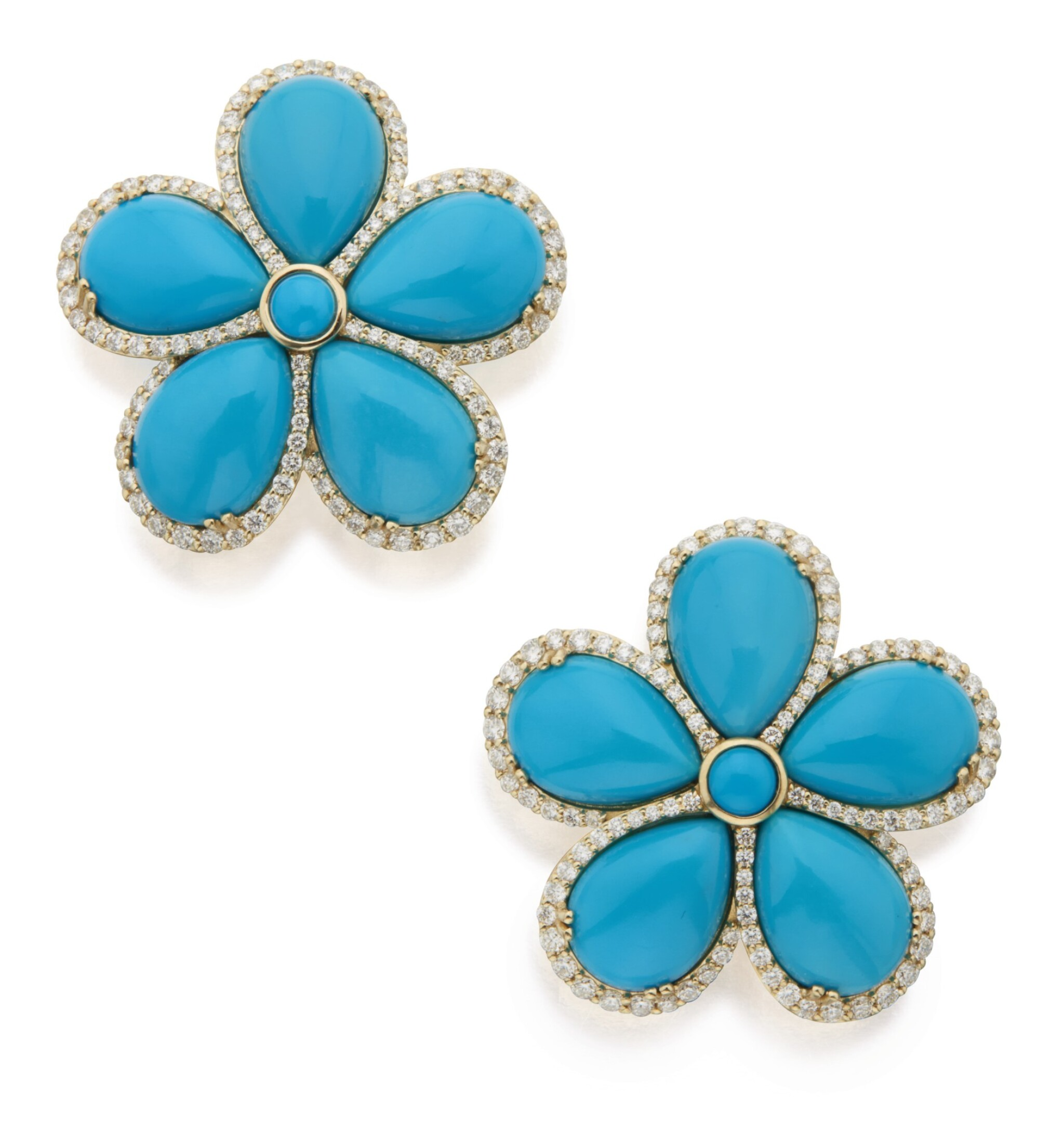 View full screen - View 1 of Lot 338. PAIR OF TURQUOISE AND DIAMOND 'G-ONE' EARCLIPS, GOSHWARA .