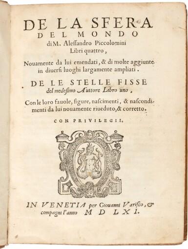 View 1. Thumbnail of Lot 43. Piccolomini   Della sfera del mondo, Venice, 1561, later vellum.