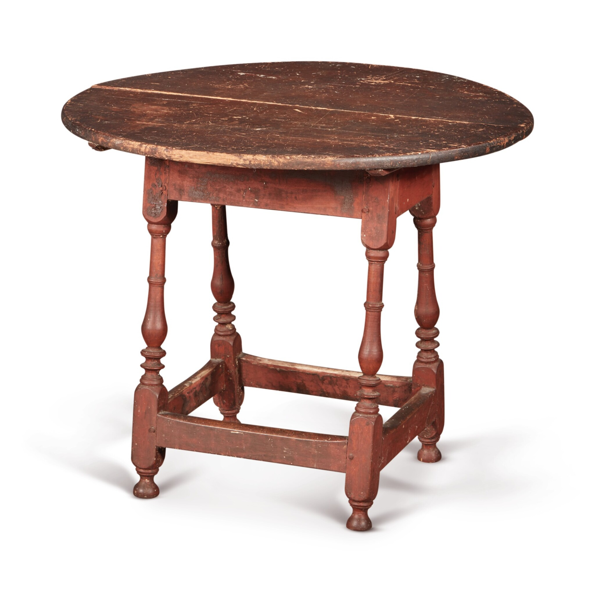 View full screen - View 1 of Lot 1. William and Mary Red-Painted Maple and Pine Tilt-Top Tavern Table, New England, circa 1730.